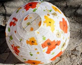 "Lamp - ""flowers"" hanging flowers - hanging light fixture - series ""Fleurs"" paper ball ink color"