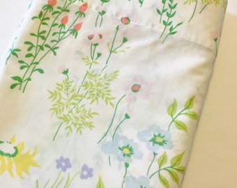 Vintage Floral Percale Twin Flat Sheet Yellow Pink Blue Spring Flowers on White