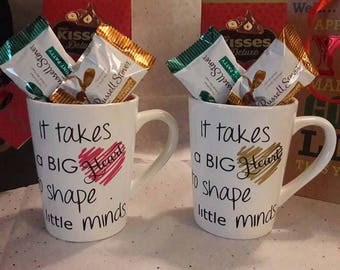 Set if Two Teacher's Mug - It takes a big heart to shape little minds