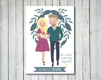 Pregnancy Announcement with Custom and Illustrated Portrait