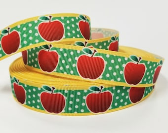 "7/8 "" inch Apples on Green with white pokadot on yellow border - Teacher Back to School - Printed Grosgrain Ribbon for 7/8 inch  Hair Bow"