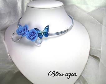 Collier Fil d'aluminium Keissy bleu azur
