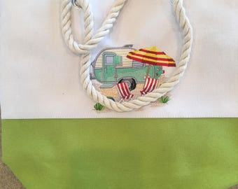 Tote Bags with Machine Embroidered Design Flowers Iris & Humingbird Camping
