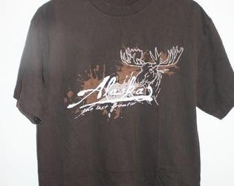 Vtg Alaska The Last Frontier Moose T Shirt Brown Med