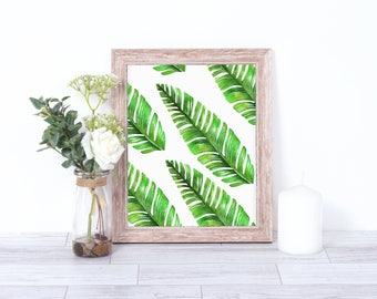 Banana Leaf Print - Printable Plant Leaf Wall Art - Banana Leaves Printable - Tropical Leaf Printable