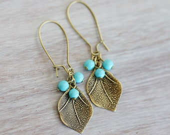 Antiqued Brass leaf Charms and Czech Light Blue Beads Dangle Earrings, Simple, Light Weight Earrings