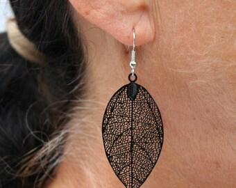 Black leaf earrings
