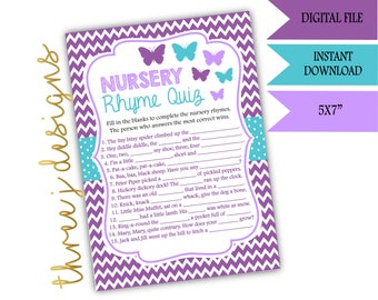 Butterfly Baby Shower Nursery Rhyme Game - INSTANT DOWNLOAD - Purple and Teal - Digital File - J001