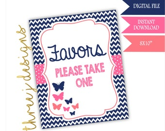 Butterfly Baby Shower Favor Table Sign - INSTANT DOWNLOAD - Navy Blue, Pink and Coral - Digital File - J003