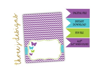 Butterfly Baby Shower Food Tent Cards - INSTANT DOWNLOAD - Purple, Teal and Green - Digital File - J006