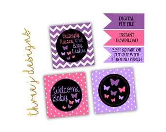Butterfly Baby Shower Cupcake Toppers - INSTANT DOWNLOAD - Purple and Pink - Digital File - J002