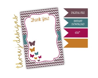 Butterfly Birthday Party Thank You Card - INSTANT DOWNLOAD - Brown, Teal, Maroon and Gold - Digital File - J012