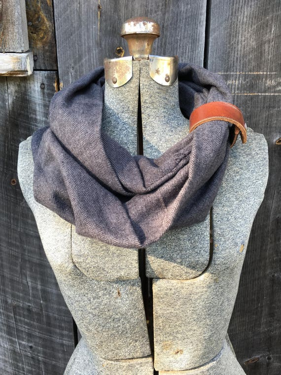 Gray herringbone flannel eternity scarf with a brown leather cuff - soft, trendy