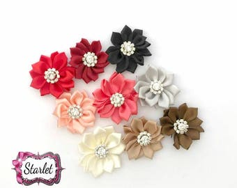 "2"" Multi-layer Flowers, Rhinestone Flowers, DIY Flowers, No Clip Flowers, Headband DIY Flowers, Satin Fabric Ribbon Flower Supplies"