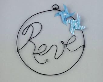 Word in wire - dream - with blue windmills - wall decor - nursery baby boy - handmade gift