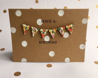 Floral mini bunting birthday card