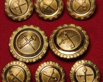 Men's Vintage Waterbury Blazer Buttons Set Gold Brass Shank Sword & Key 1970s