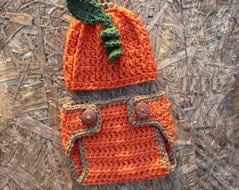 Crochet Pumpkin Hat Diaper Cover Set Halloween Hat Set Newborn Baby Pumpkin Outfit Newborn Halloween Photo Prop Halloween Costume Baby Knit