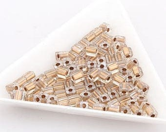 jewelry making couples for necklace bracelet Cube Beads square beads 4mm Gold Brown (Crystal) (234) [30g]