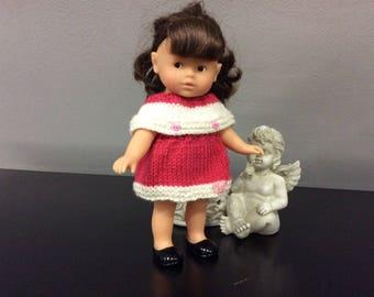 Wool pink and beige for 20 cm doll dress mini corolline...