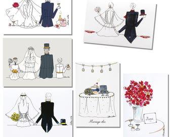 Set six cards wedding