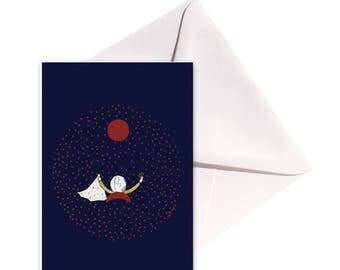 Carte pliée Naissance points, enveloppe blanche.