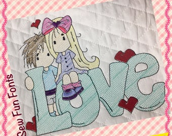 Love Girl Boy Embroidery Saying, Wispy Filled Design, Reading Pillow Saying Pocket Pillow Machine Embroidery Design 3 SIZES INSTANT DOWNLOAD