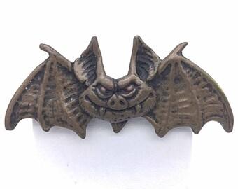 Metal Finish Smiling Bat Brooch