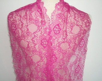 "RESERVED  3 yards purple/fuchsia french lace trim (N133)/ 8"" wide stretch lace trim by the yard"