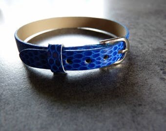 Necklace / Navy Faux Leather Bracelet