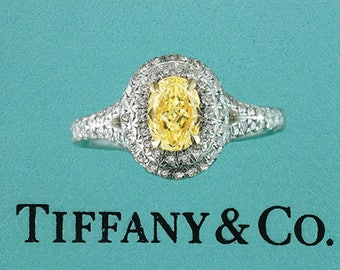 Tiffany & Co. Soleste Fancy Intense Yellow Oval 1.00ct Diamond Engagement Ring