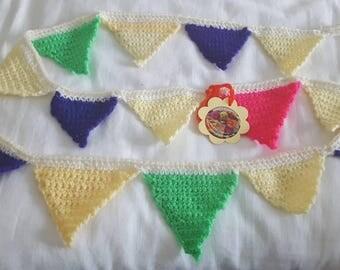 Triangular bunting, circus colours.
