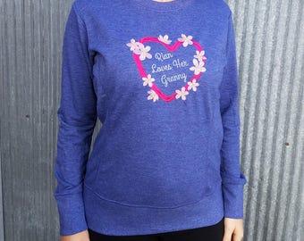 Grandma Custom Embroidered Sweatshirt - Text Of Your Choice