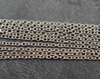 Silver Toned Cable Chain, Adjustable 18 Inch to 20 Inch, Lobster Clasp. Base Metal, Silver Chain, Silver Colored Chain, Necklace Chain