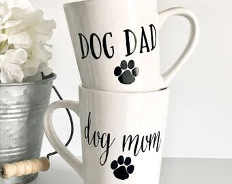 IMPERFECT Dog Dad, Dog Mom 14oz coffee mug set, coffee cup, gifts for him, gifts for her, animal lover, his and hers, couple mugs, couple gi