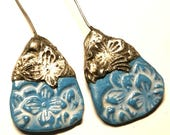 Tinwork-capped Porcelain Earring Charms Pair - #J31