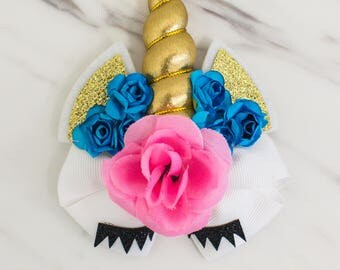 Unicorn Hair Bow - Toddler Bow - Baby Bow - Birthday Party Favors