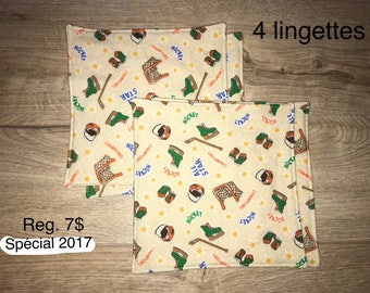 Set of 4 wipes/Washcloths large format