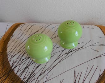 Retro Looking Homer Laughlin Fiesta Bulb Salt and Pepper Shakers in Discontinued Chartreuse Art Deco Styling SHIPPING INCLUDED