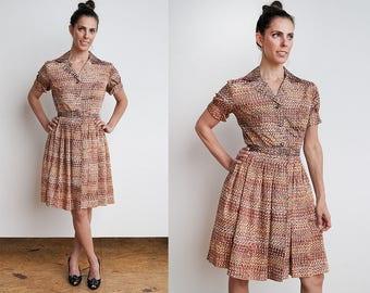 VTG 1950's I New Look I Fit & Flare I Mid-Century Pattern I Dress I S