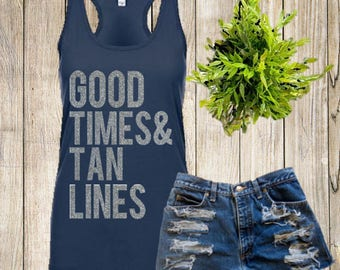 Tan lines etsy good times tan lines tight fitting summer tank womans tank country fandeluxe Ebook collections