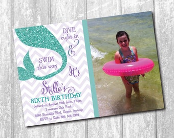 Adorable Mermaid Bday Invitation with Photo/DIGITAL FILE/printable/wording & colors can be changed