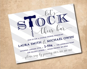 Stock the Bar Invitation printable/Stock the Bar Shower, Couples Stock the Bar Shower/Digital File/navy, gray, corkscrew, wine, cocktails