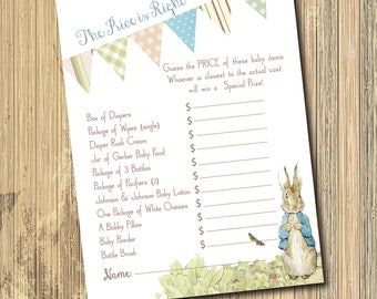 "Vintage Peter Rabbit Game for Baby Shower..""The Price is Right""/INSTANT DOWNLOAD/Digital File/Printable"