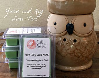 Soy Wax Melts-Citrus Wax Melts - Yuzu and Key Lime - Wax Warmers - Wax Tarts - Clamshell Wax Tarts - Summer Outdoors - Scented Wax Melts