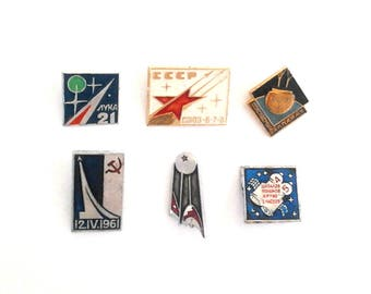 Vintage Soviet pin badges Space theme / USSR, 1970s