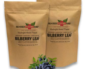 Dried Bilberry Leaf - 60 Individual Bags of Dried Hand-Crafted Bilberry Leaves - Pure, No Fillers, All-Natural, Non-GMO (1.5g ea)