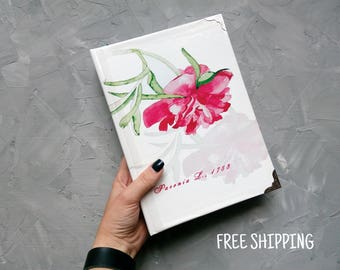 A5 notebook journal  Lined notebook  journal A5  Personalize notebook Writing journal Large journal Lined journal Pink peony