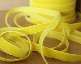 3/8 inch Lemon Yellow Velveteen Ribbon /   VRYM38-640