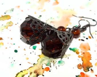 Brown dangle earrings - Steampunk earrings - Brown glass earrings - Brown earrings - Victorian earrings - Edwardian earrings - Brown earings